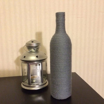 Wine Bottles wrapped with yarn - home décor GRAY