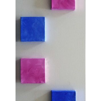 Baby Wall Art - Baby Wall Decor - Baby Wall Letters -Set of 4 Mini Canvas Art Squares -Blue and Pink