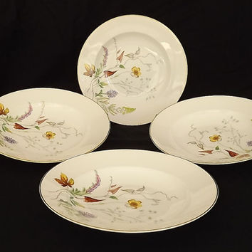 Rosenthal China Floral Herbalist Gold Trim Soup Salad Serving Bowls