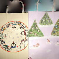 Set of 9 Hand Painted Christmas Gift Bags One Price for All Free Shipping Christmas in July