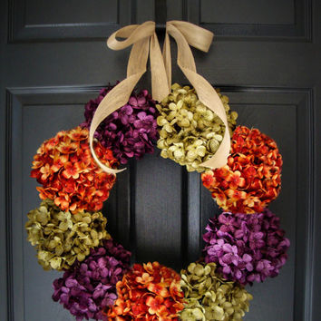 Fall Wreaths - Hydrangea Wreath - Autumn Wreath Colors - Outdoor Wreaths - Outdoor Fall Wreaths - Wreath - Housewarming Gift