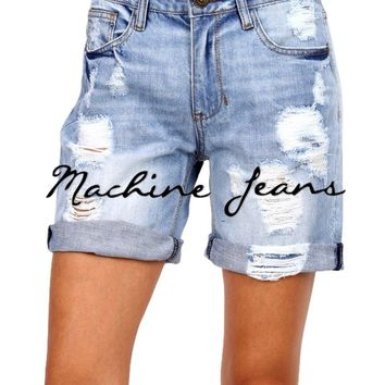 Destructed Cuff Boyfriend Short, Medium Denim