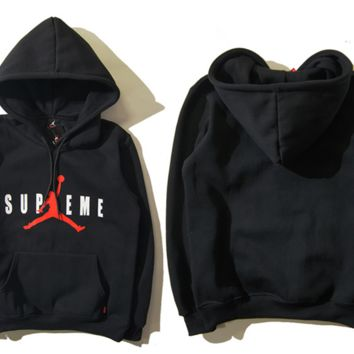 """Air Jordan X Supreme"" Fashion Casual Unisex Solid Color Loose Letter Pattern Print  Round Neck Long Sleeve Couple T-shirt Hooded Plus Cashmere Sweater"