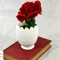 Mid Century Mod White Milk Glass Artichoke Vase or Planter- Imperial Glass Co.