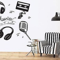Vinyl Wall Sticker Attributes Microphone Headphones Music Cassette Notes Unique Gift (n324)