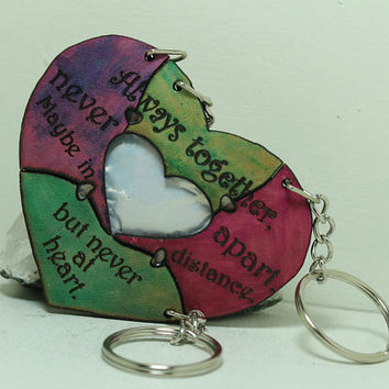 Friendship Heart Key chains set of 4 Leather Puzzle Key chains Multi color