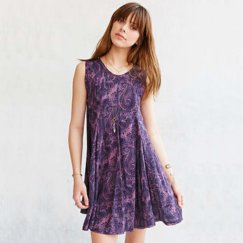 Casual Floral Printed Sleeveless Purple Mini Dress