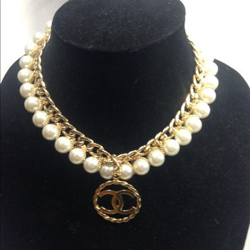 Wrapped Pearl And Gold Necklace With Chanel Charm (Handmade)