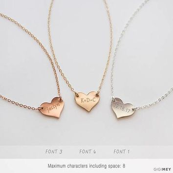 Heart necklace sterling silver, gold fill, rose