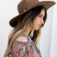 Brown Floppy Hat with Star Studs