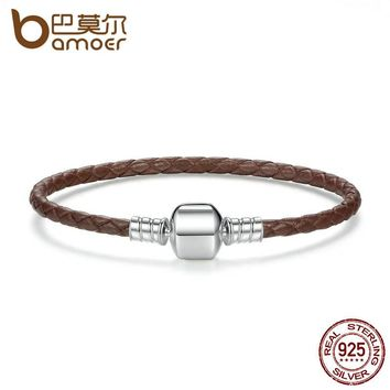 Authentic 925 Sterling Silver Brown Braided Rope Genuine Leather Snake Chain Bracelets for Women Fine Jewelry PAS909