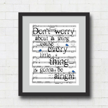 "Don't Worry About a Thing Art Print - 8x10"" Bob Marley ""Three Little Birds"" Song Lyrics on Sheet Music Wall Art Print"