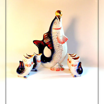 Soviet Drinking Set. Soviet Fish Drinking Set. Vintage Porcelain Set of decanter and 6 small glasses. Porcelain Figurine Soviet Fish