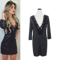 Black Deep V-Neck with Eyelash Lace Accent Mini Dress