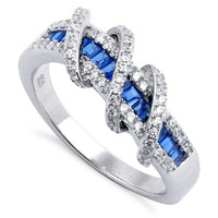 .925 Sterling Silver Wrap Around Baguette Cut Sapphire & Round CZ Ring  4-6