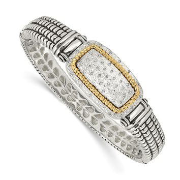 Sterling Silver Two Tone Silver And Gold Plated Sterling Silver w/1/4ct. Diamond Bangle Bracelet