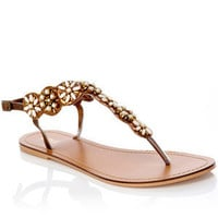 Oasis Sandals | Stone Beaded Flower Toepost Sandals | Womens Fashion Clothing | Oasis Stores UK