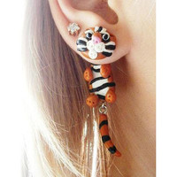 fake gauge plug two part earrings Bengal tiger , Polymerclay, handmade