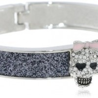 "Betsey Johnson ""Classic Boost"" Skull Hinged Bangle Bracelet, 8"""