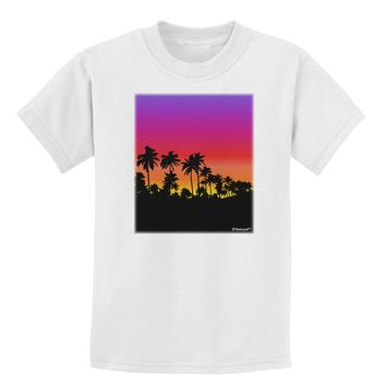 Palm Trees and Sunset Design Childrens T-Shirt by TooLoud