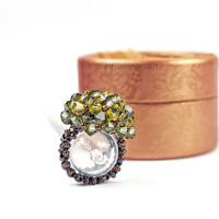 Spring Sale - Unique Swarovski Ring, Crystal Ring, Bead-woven Swarovski Ring, Handwoven Crystal Ring, Swarovski Crystal Ring, green bronze