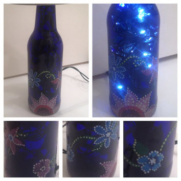 Bohemian Blue hand-painted bottle lamp FREE SHIPPING flowers boho floral hippy
