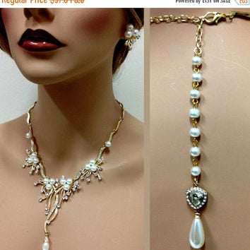 Bridal jewelry set , back drop necklace earrings, bib necklace, Golden rhinestone pearl necklace, bridal statement, bridesmaid jewelry