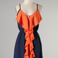 Ruffle Touch Down -- Navy/Orange