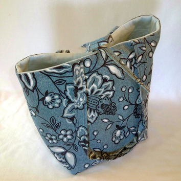 Denim Tote Bag, Cloth Purse, Floral Tote Bag, Fabric Bag, Handmade Handbag, Floral, Blue, Denim, Flowers, Shoulder Bag
