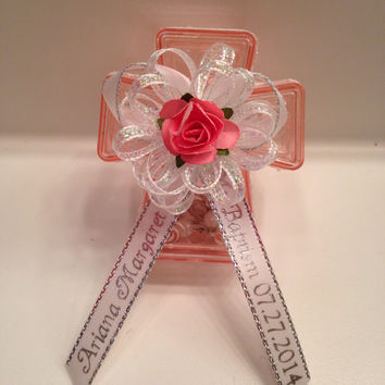 12 Personalized Mini Rosary Favors w/Pink Keepsake Box Baptism/Communion Personalized