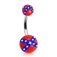 Rebel Flag Belly Ring Navel Ring Surgical Steel Barbell Acrylic Confederate Flag