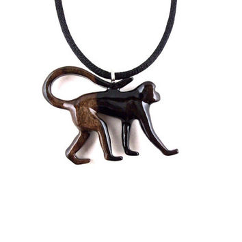 Monkey Pendant, Monkey Necklace, Monkey Jewelry, Wood Monkey Necklace, Wood Jewelry, Monkey Totem Tribal Jewelry, Hand Carved Animal Pendant