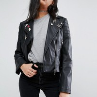 ASOS Ultimate Leather Look Biker Jacket with Pin Badge Detail at asos.com