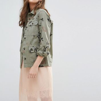 Miss Selfridge Floral Printed Military Jacket at asos.com