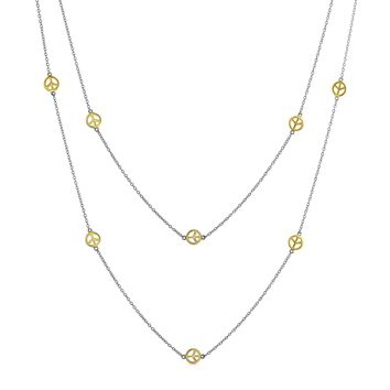 2 Tone Peace Wrap Layer Necklace 14K Gold Plated 925 Sterling Silver