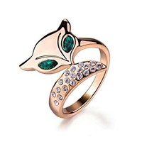 [Lovely Series] Yoursfs Unique Fox Ring with Emerald Eyes Cubic Zirconia tail 18K Rose Gold Plated Valentine's Day Gift Ring