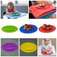 New Toddler Baby Kids Food Placemat One-Piece Silicone Divided Dish Bowl Plates