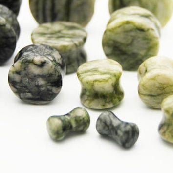 Organic Green Moss Jasper Stone Plugs (3mm-25mm)