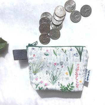 Botanical divided Mini Flat Bottom Pouch / Coin Purse (handmade philosophy's pattern)