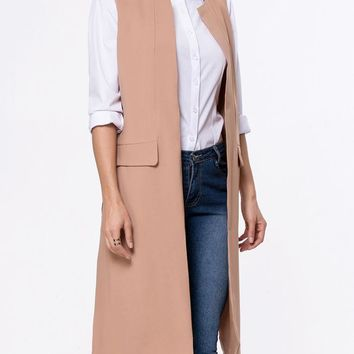 Casual Collarless Side-Vented Plain Sleeveless Trench Coat