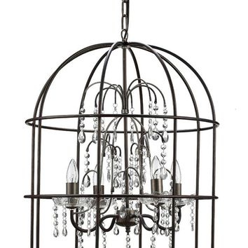 Metal Birdcage Chandelier with Clear Crystals -- 25-in
