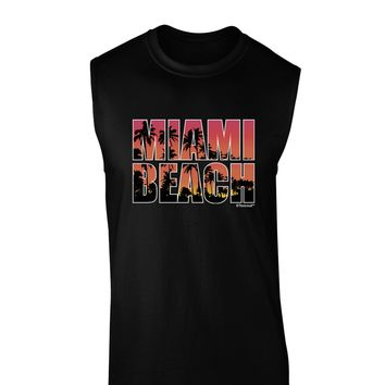 Miami Beach - Sunset Palm Trees Dark Muscle Shirt  by TooLoud