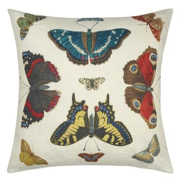 John Derian Mirrored Butterflies Carmine Decorative Pillow