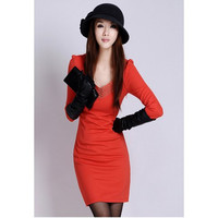 Slim-Fit Solid V-Neck Long Sleeve Dress