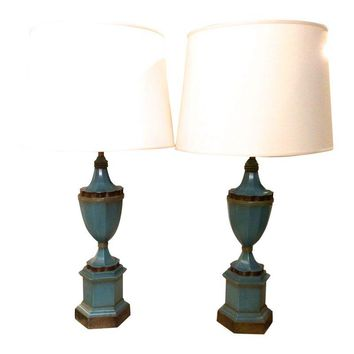 Pre-owned Vintage Neoclassical Style Blue Urn Lamps - A Pair