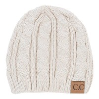 C.C. Beanie Cable Knit Fitted Beanie in Ivory YJ31A-IV