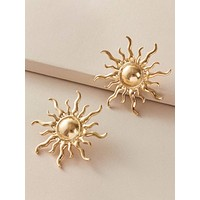 1pair Sun Shaped Stud Earrings
