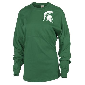 White Official NCAA Michigan State University Spartans Msu Sparty Women's Long Sleeve Spirit Wear Jersey T-Shirt
