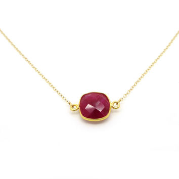 Raw Ruby Necklace, Ruby Pendant, Ruby Jewelry, Dainty Gold Necklace, Dainty Necklace, Delicate Necklace, Anniversary Gift, Pink Necklace
