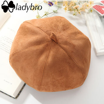 Ladybro New Autumn Winter British Fashion Women Suede Hat Beret Pumpkin Octagonal Hat Cute Painter Hat Boinas Mujer Beanie Hat